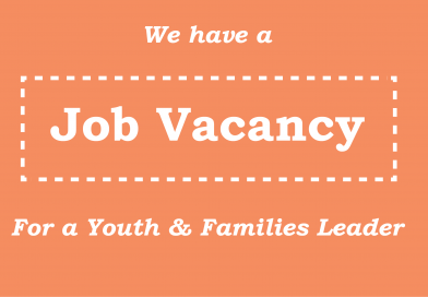 """Graphic with text 'We have a Job vacancy for a Youth & Families Leader"""""""
